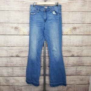 Mossimo High Rise Flare Raw Hem Jeans